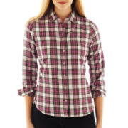 jcp™ Brushed Twill Flannel Plaid Long-Sleeve Shirt