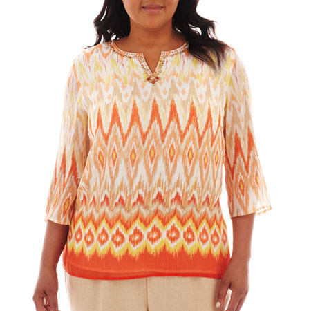 Alfred Dunner Tuscan Sunset Ikat Print Tunic Top - Plus