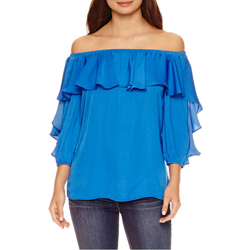 Bisou Bisou 3/4 Sleeve Ruffle Off The Shoulder Top