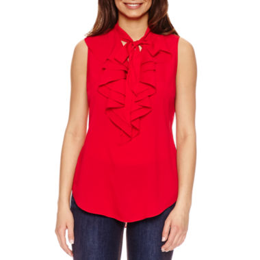 jcpenney.com | Bisou Bisou Tie Neck Ruffle Top