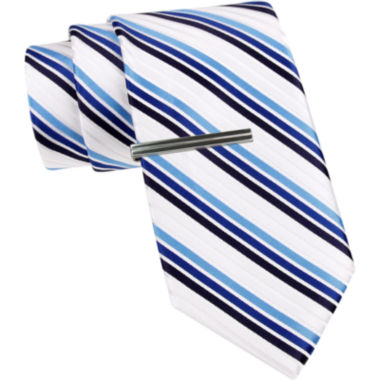 jcpenney.com | JF J. Ferrar® Three-Bar Stripe Tie and Tie Bar Set - Slim