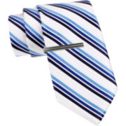 JF J. Ferrar® Three-Bar Stripe Slim Tie