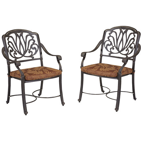 Floral Blossom Pair of Cushioned Armchairs