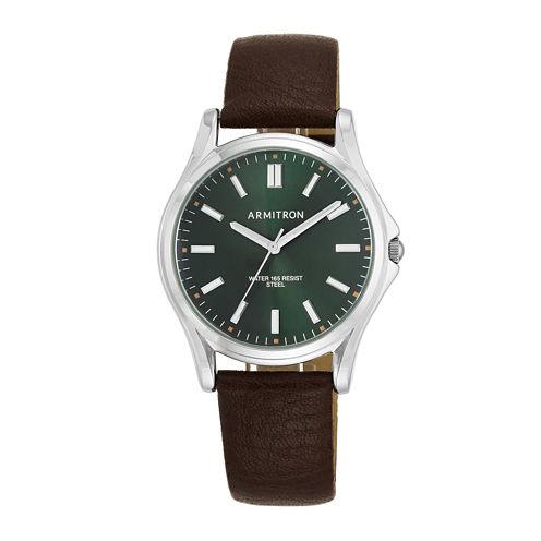 Armitron® Men's 5138 Green Dial Silver-Tone Bezel Leather Strap Watch