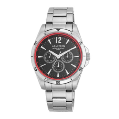 jcpenney.com | Armitron® Mens 5148 Black and Red Stainless Steel Link Watch