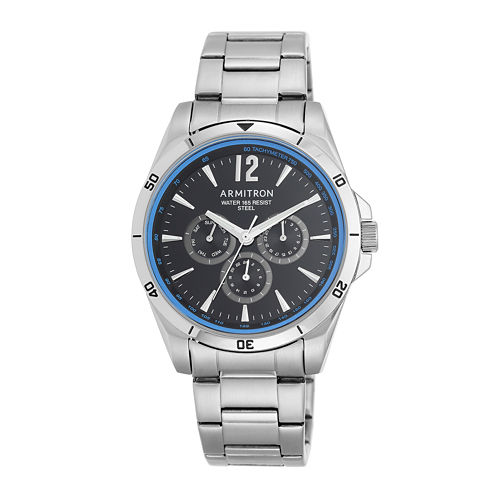 Armitron® Mens 5148 Black and Blue Stainless Steel Link Watch