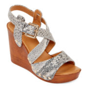GC Shoes Super Miami Faux Wood Wedge Sandals