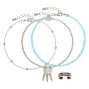 Arizona 4-pc. Blue Seed Bead Silver-Tone Anklet and Toe Ring Set