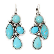Aris by Treska Genuine Turquoise Silver-Tone Drop Earrings