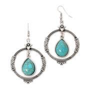 Aris by Treska Turquoise Drop Hoop Earrings