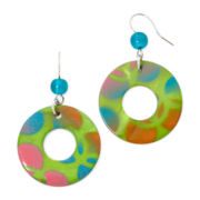 Aris by Treska Colorful Disc Silver-Tone Drop Earrings