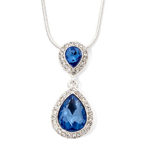 Monet® Blue and Silver-Tone Pendant Necklace