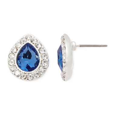 jcpenney.com | Monet® Blue and Silver-Tone Button Earrings