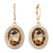 Monet® Brown Stone and Gold-Tone Drop Earrings