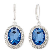 Monet® Blue Stone and Silver-Tone Drop Earrings