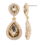 Monet® Brown Stone and Gold-Tone Drama Earrings