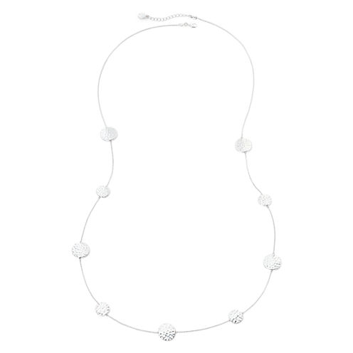 Liz Claiborne® Hammered Silver-Tone Station Necklace