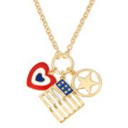 Liz Claiborne® Gold-Tone Americana Multi-Charm Pendant Necklace