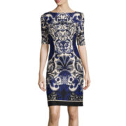 J. Taylor Short-Sleeve Sheath Dress