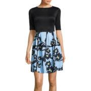J. Taylor Elbow-Sleeve Floral Dress