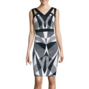 Signature by Sangria Graphic Print Sheath Dress
