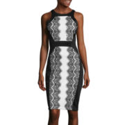 Signature by Sangria Lace Panel Sheath Dress