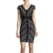 Signature by Sangria Laser-Cut Sheath Dress