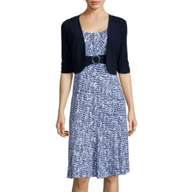 jcpenney.com | Perceptions 3/4-Sleeve Abstract-Print Bolero Jacket Dress