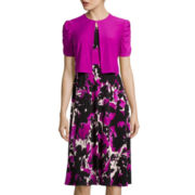 Danny & Nicole® Short-Sleeve Abstract Floral Jacket Dress