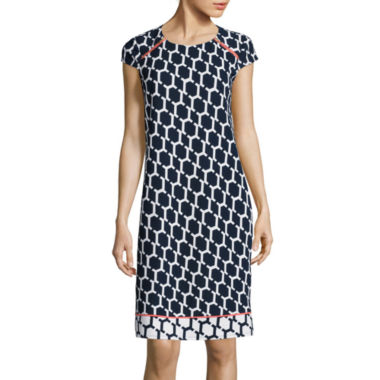 jcpenney.com | R&K Originals® Cap-Sleeve Geo Print Zip Shoulder Shift Dress