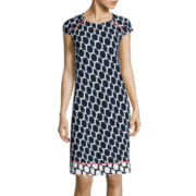 R&K Originals® Cap-Sleeve Geo Print Zip Shoulder Shift Dress