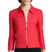 Chelsea Rose 3/4-Sleeve Textured Zip-Front Jacket