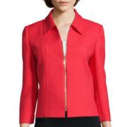 Chelsea Rose 3/4-Sleeve Textured Zip-Front Jacket