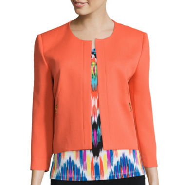 jcpenney.com | Chelsea Rose Textured Pique Jacket or Sleeveless Print Blouse