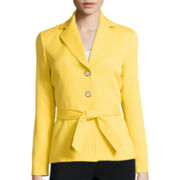 Chelsea Rose Long-Sleeve Textured Jacket with Self Tie