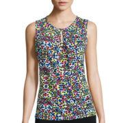 Chelsea Rose Sleeveless Dot Print Blouse