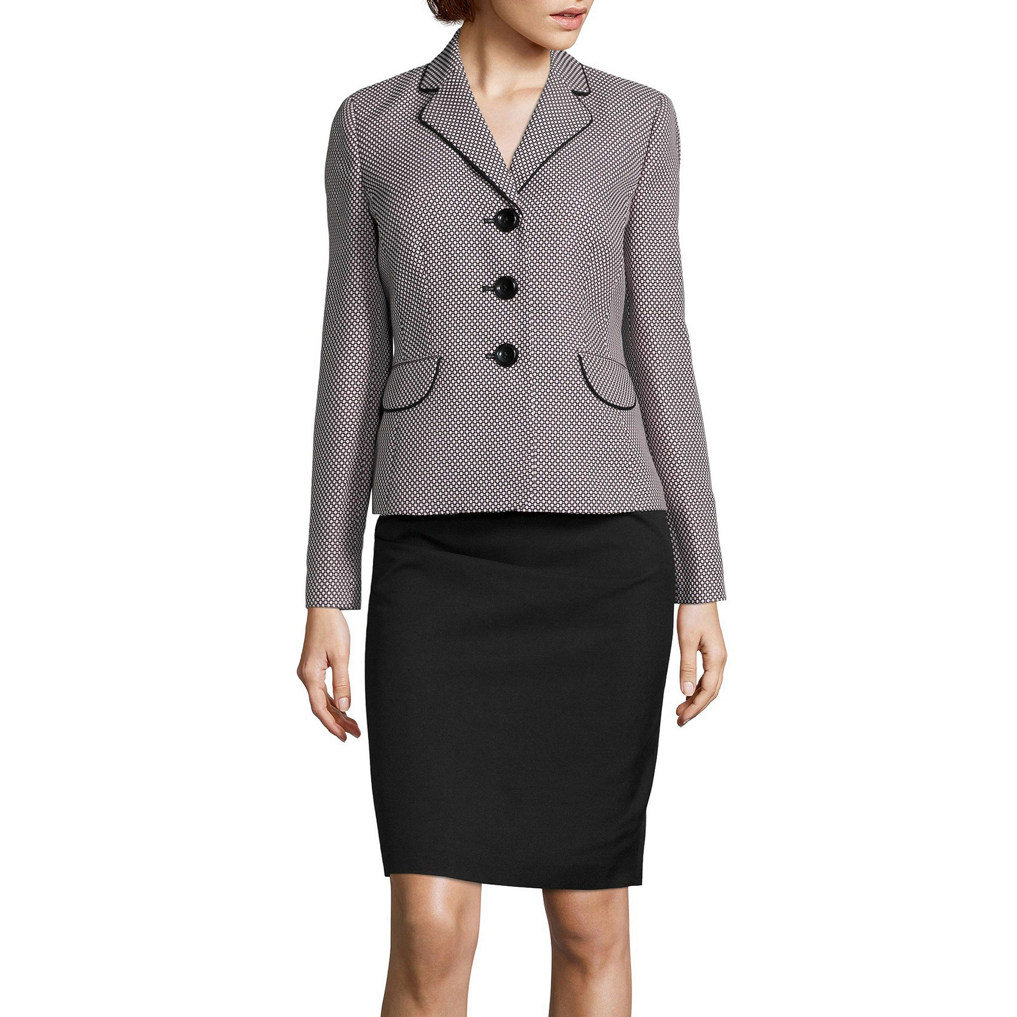 Le Suit Long-Sleeve 3-Button Dot Notch-Lapel Jacket and Skirt Suit Set plus size,  plus size fashion plus size appare