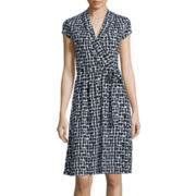 Liz Claiborne® Cap-Sleeve Geo-Print Wrap Dress