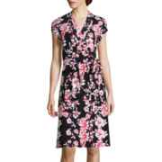 Liz Claiborne® Cap-Sleeve Floral-Print Wrap Dress