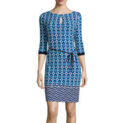 Liz Claiborne® 3/4-Sleeve Geo-Print Sheath Dress