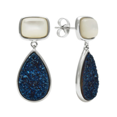 jcpenney.com | Mother-of-Pearl & Genuine Drusy Sterling Silver Drop Earrings
