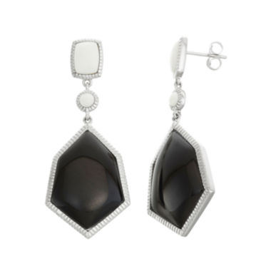 jcpenney.com | Genuine Black Onyx & White Agate Sterling Silver Earrings