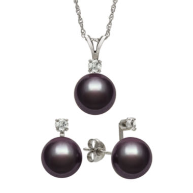 jcpenney.com | Black Cultured Freshwater Pearl & Genuine White Topaz Sterling Silver 2-pc. Set