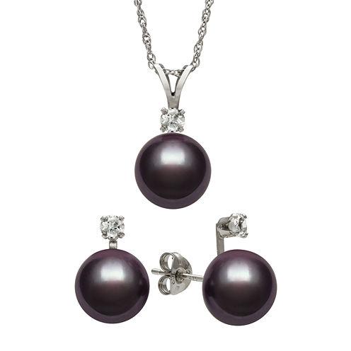 Black Cultured Freshwater Pearl & Genuine White Topaz Sterling Silver 2-pc. Set