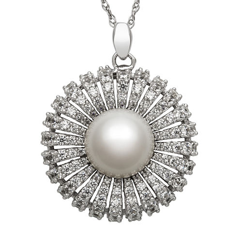 Sterling Silver Freshwater Pearl and Cubic Zirconia Pendant