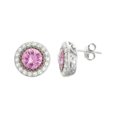 jcpenney.com | Lab-Created Pink Sapphire & White Sapphire Sterling Silver Stud Earrings