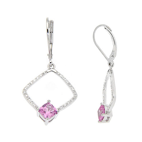 Lab-Created Pink Sapphire & 1/10 CT. T.W. Diamond Sterling Silver Earrings