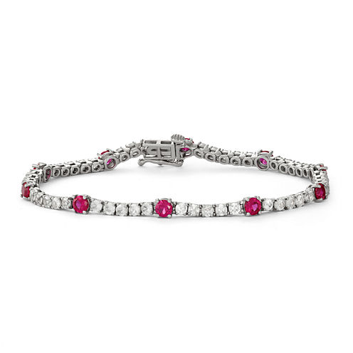 Lab-Created Ruby & White Sapphire Sterling Silver Bracelet