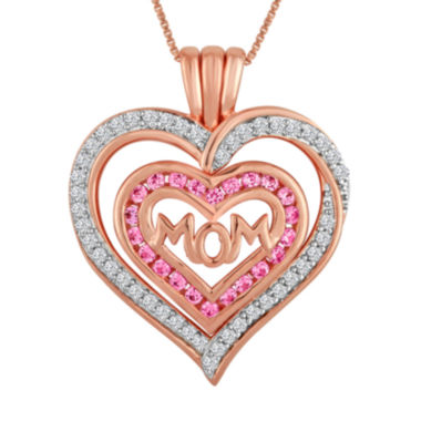 jcpenney.com | Lab-Created Pink & White Sapphire 14K Rose Gold Over Silver Mom Heart Pendant