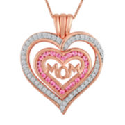 Lab-Created Pink & White Sapphire 14K Rose Gold Over Silver Mom Heart Pendant